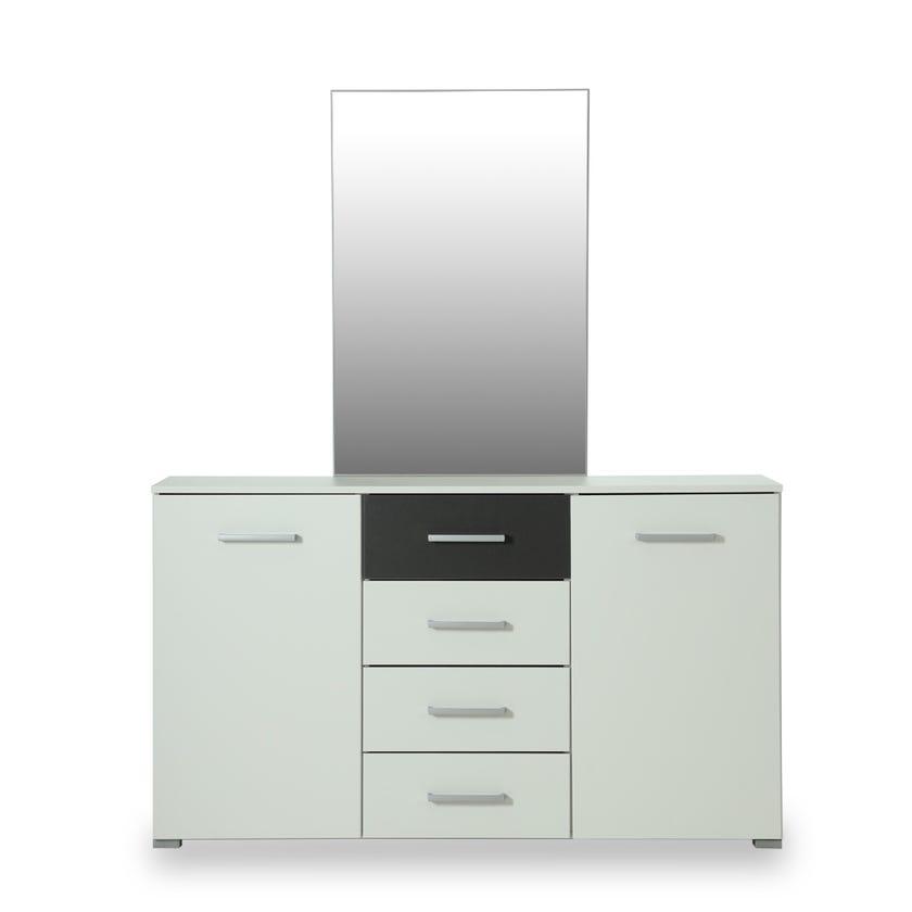 Barcelona 4-drawer 2-door Dresser with Mirror - White