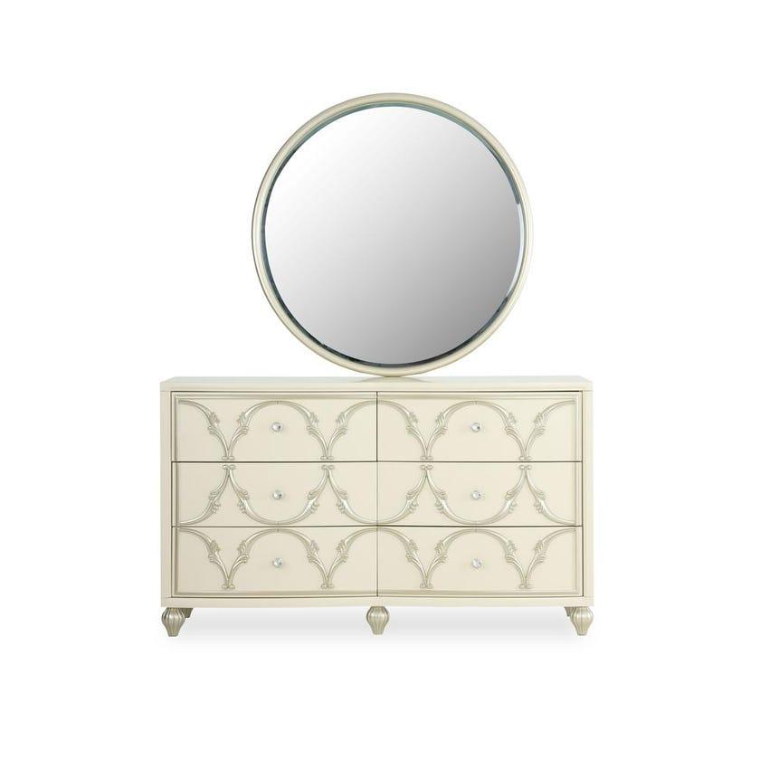 Everton 6-drawer Engineered Wood Dresser With Mirror - Pearl White
