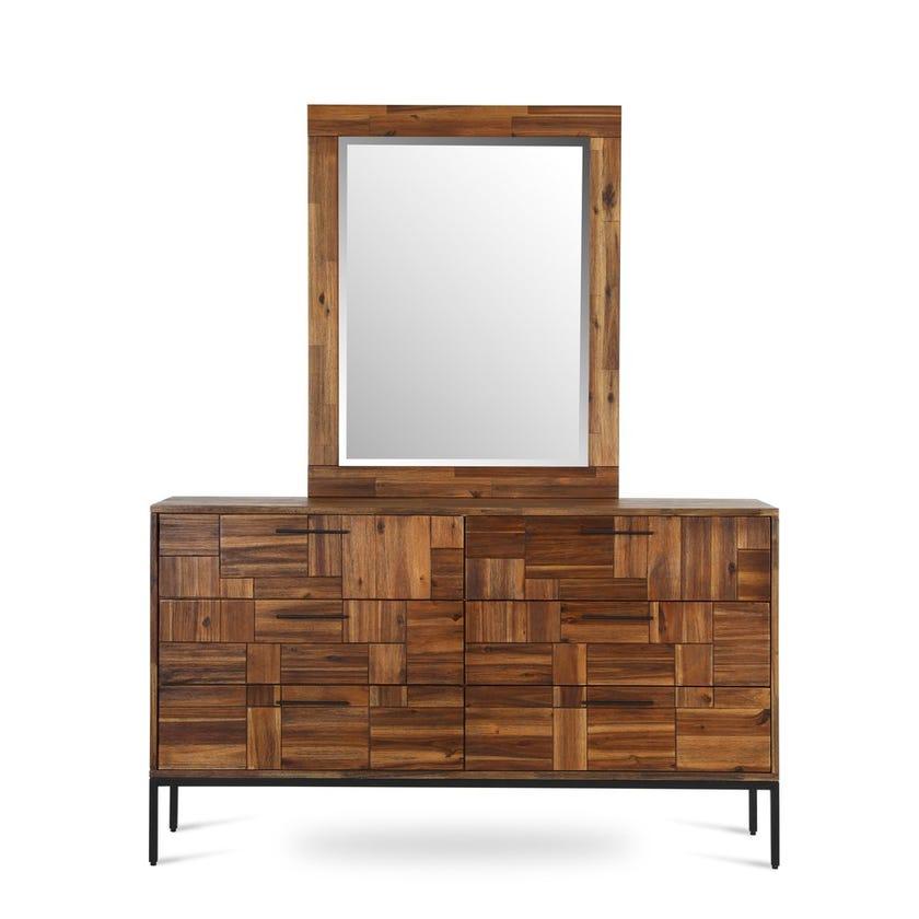 Saigon 6-Drawer Wooden Dresser with Mirror