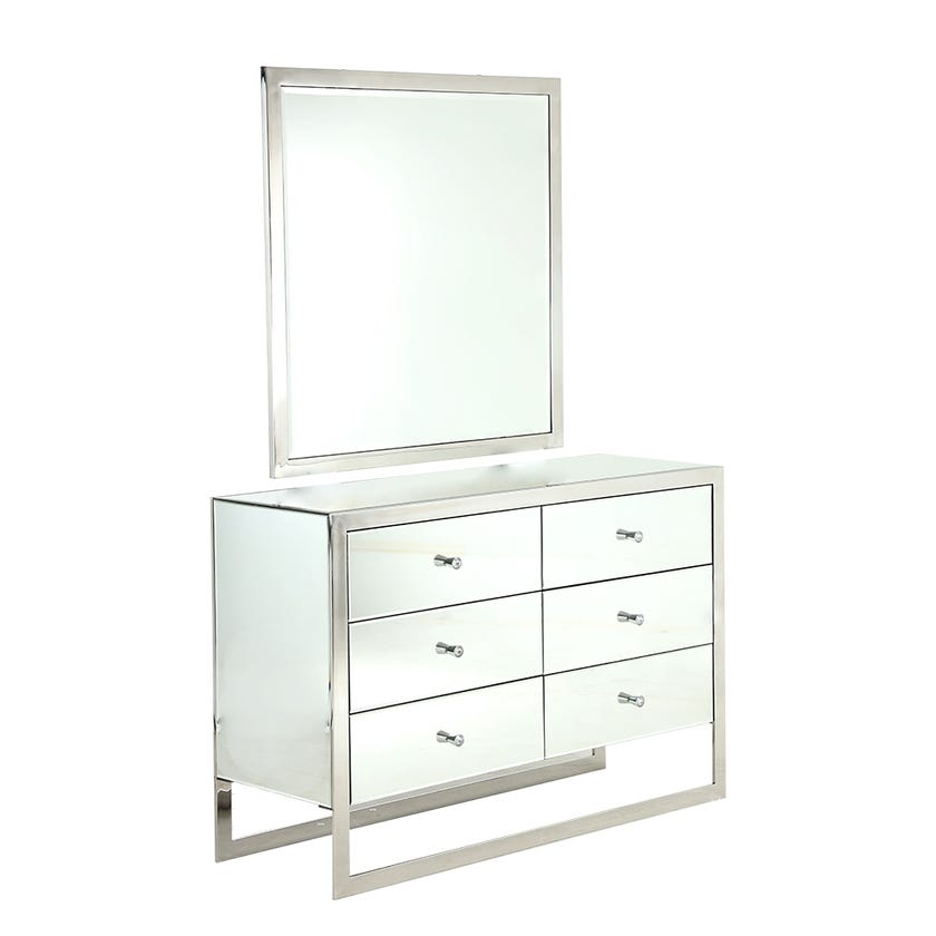 Dazzling 6-Drawer Metal Dresser with Mirror (Silver)