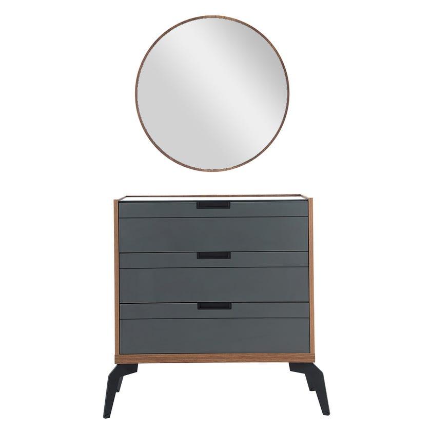 Zett Dresser with Mirror, Grey & Brown