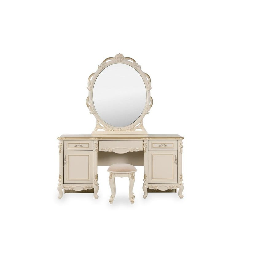 Isabelle Dresser with Mirror and Stool, Beige