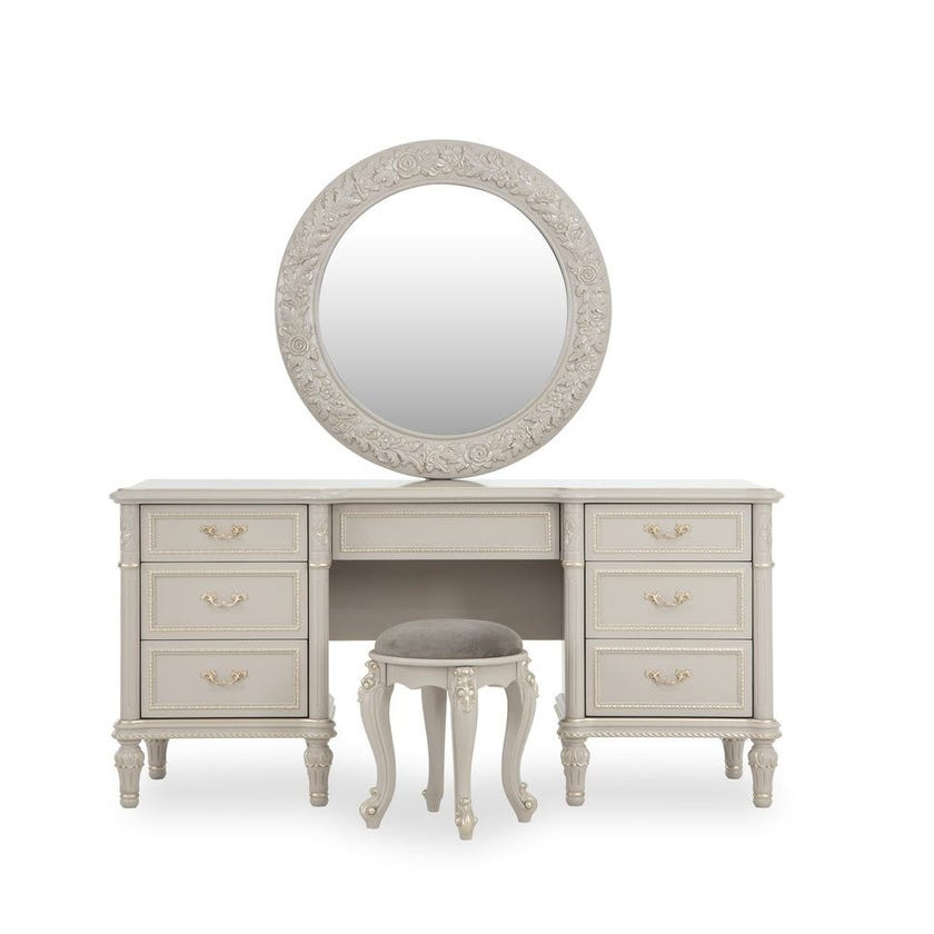 Zakiya Dresser with Mirror and Stool, Grey