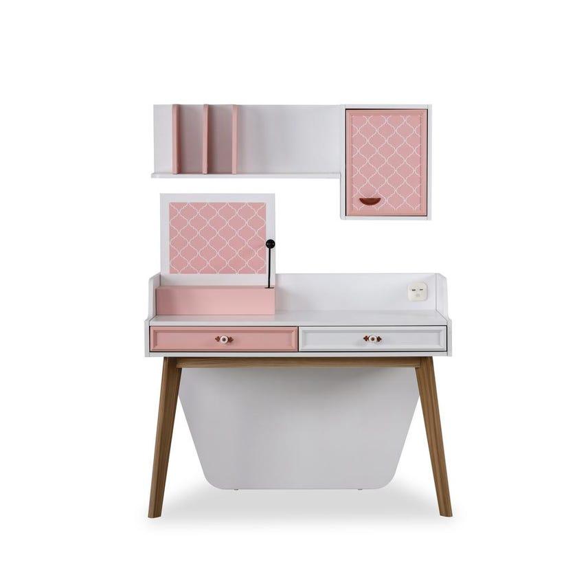Diana 2-drawer Study Desk with Box Shelf - Pink