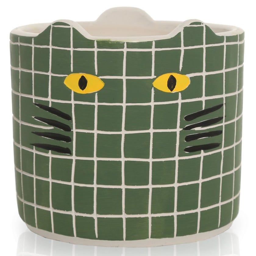 Kitty Planter Pot, Green – Large