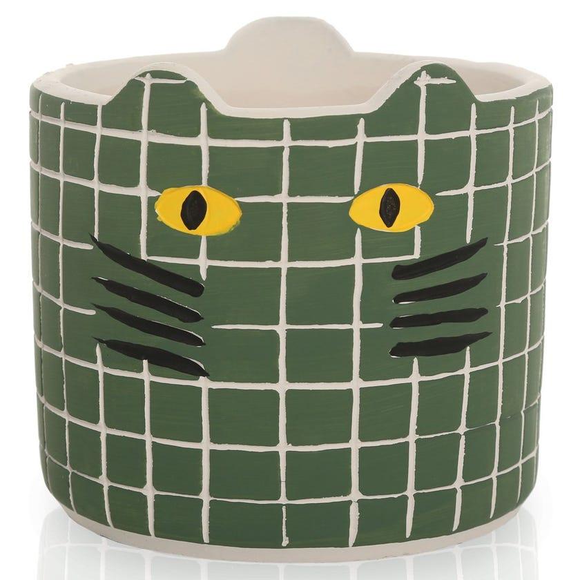 Kitty Planter Pot, Green – Medium