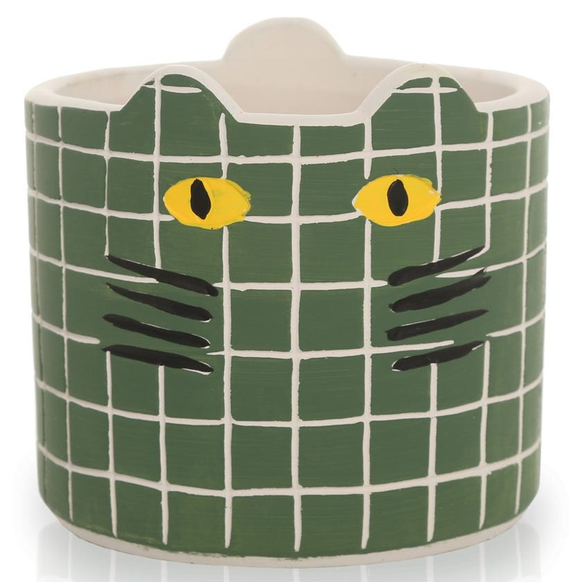 Kitty Planter Pot, Green – Small