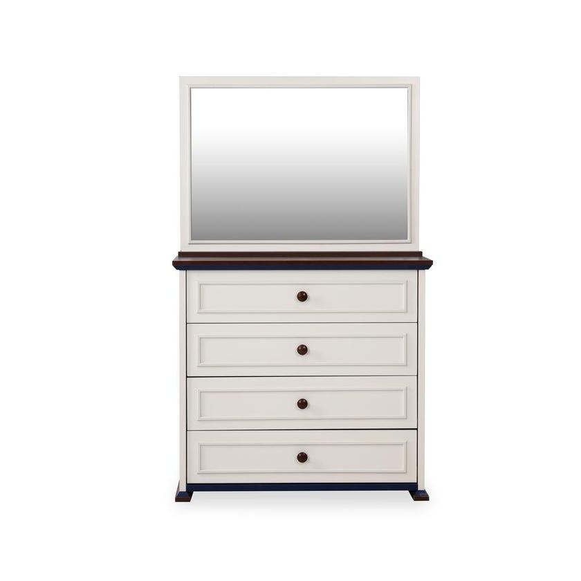 Marine  4-drawer Dresser with Mirror - White