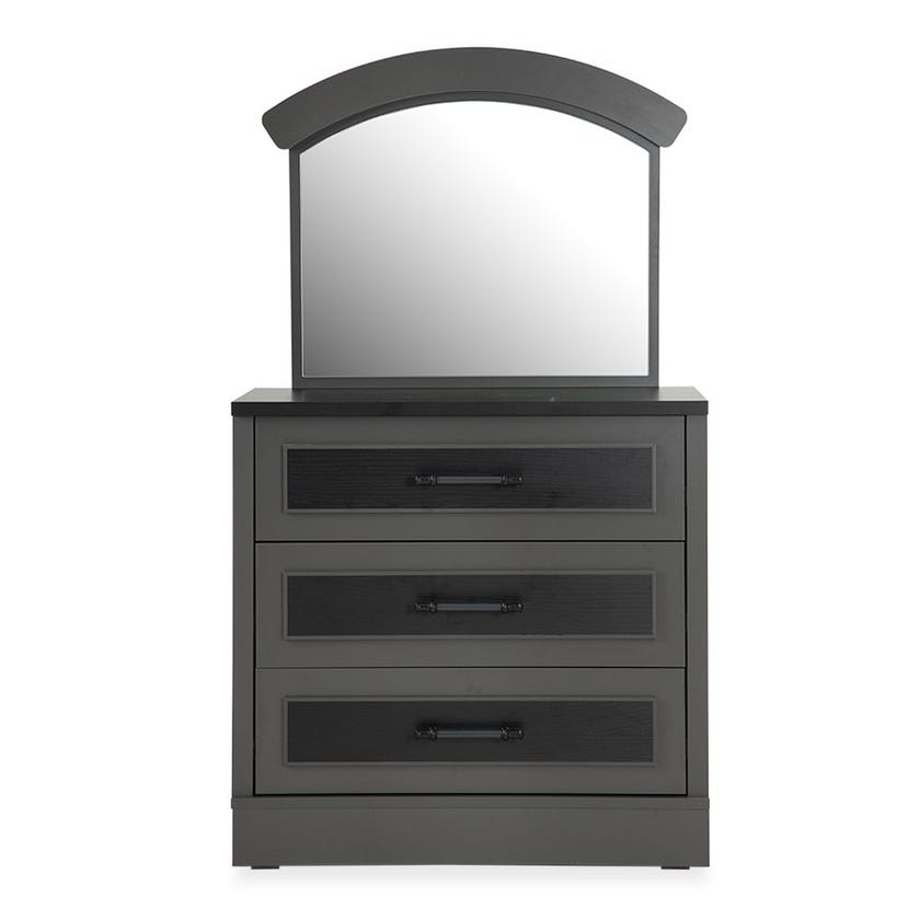 London 3-Drawer Dresser With Mirror, Black