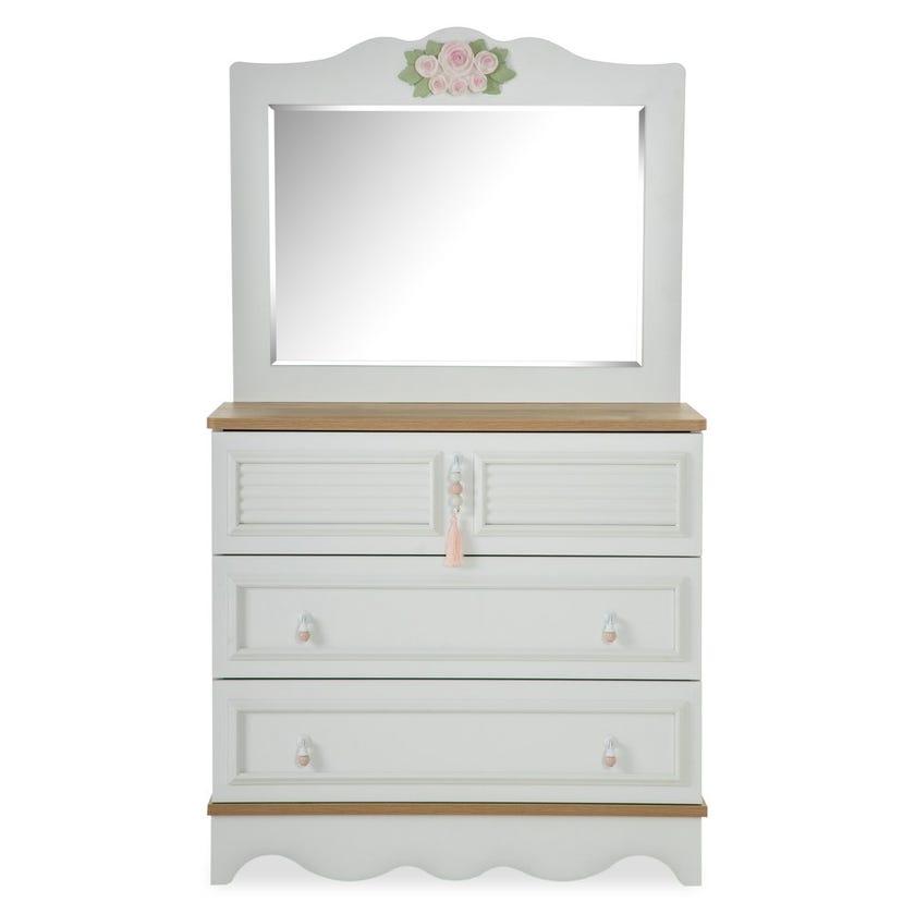 New Laura 3-Drawer Dresser With Mirror, White