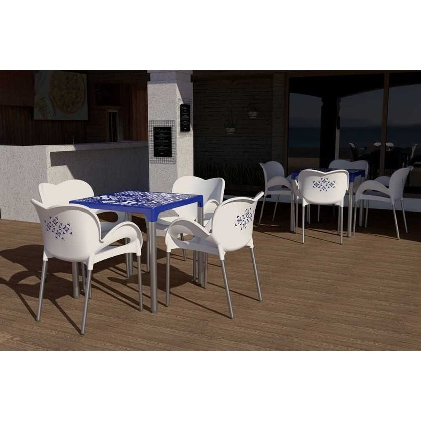 5-Piece Padrao Outdoor Table Set, White & Navy Blue