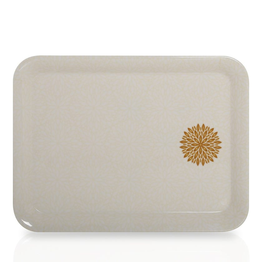 Golden Leaves Melamine Comfort Tray, Small - 24 x 18 cms