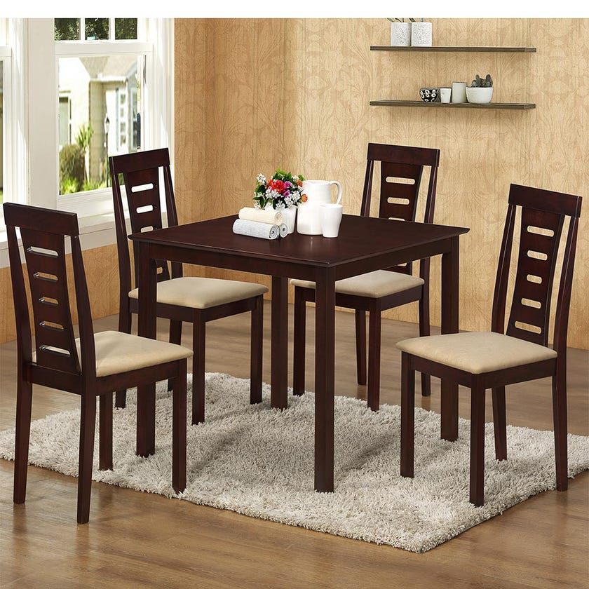 Celine Fabric Upholestered Wooden 4-seater Dining Set with 4 Chairs