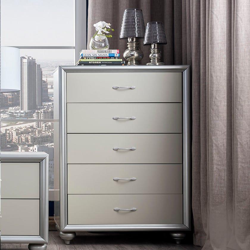 Harrington 5-drawer Chest - Silver