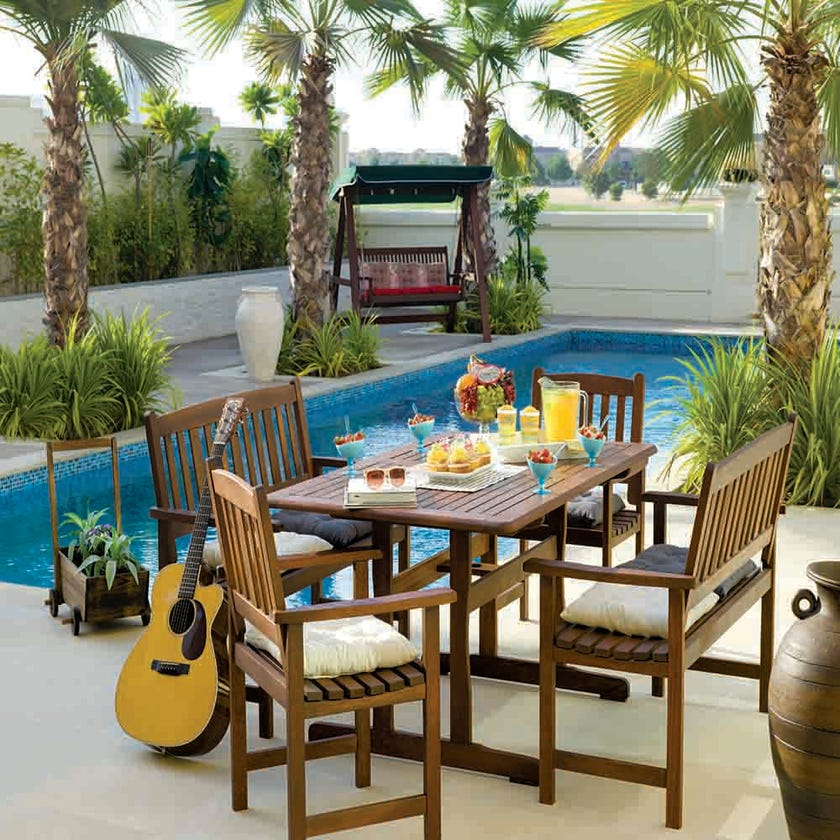 Jakati Wooden 6-Seater Outdoor Dining Set with 2 Chairs and 2 Benches