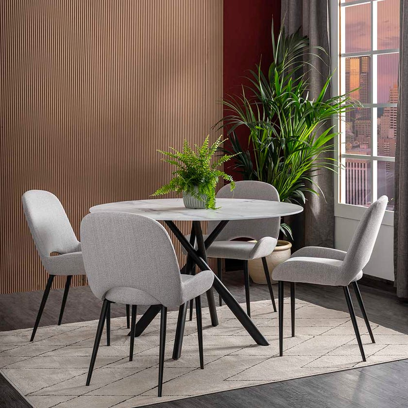 Judy Fabric Upholstered Dining Chair - Grey