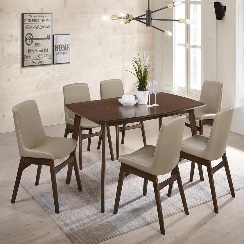 Karen PVC Upholstered 6-seater Dining Set with 6 Chairs