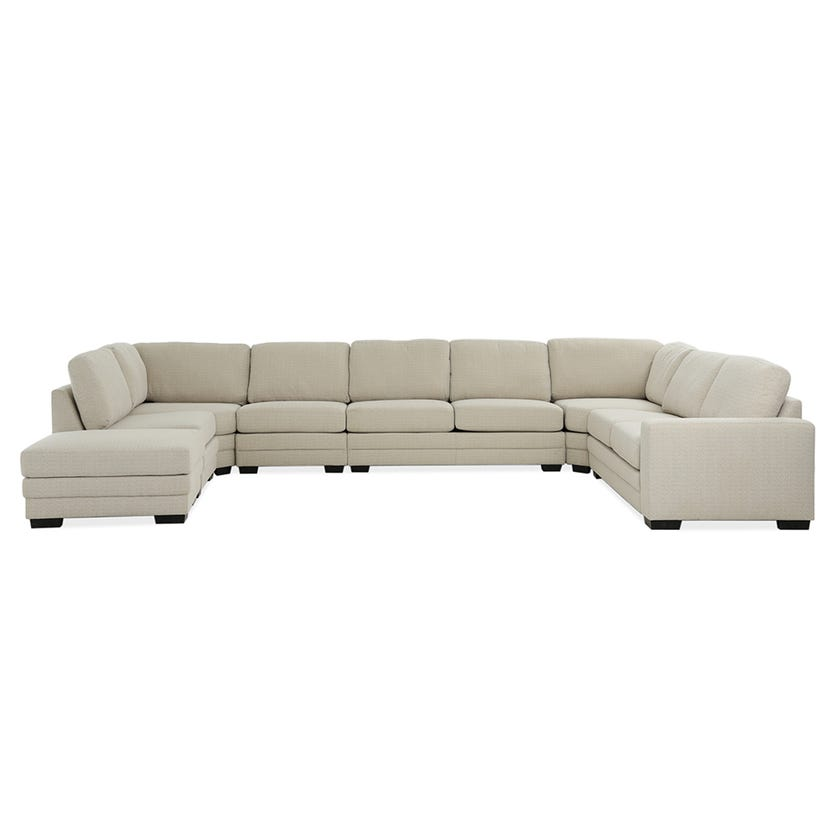 Modular Eight-Seater Right Arm Facing Open End U-shaped Corner Sofa with Ottoman (Fabric/Beige)