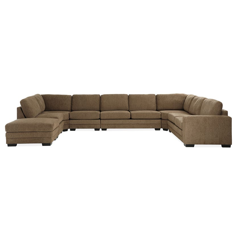Modular Eight-Seater Right Arm Facing Open End U-shaped Corner Sofa with Ottoman (Fabric/Brown)