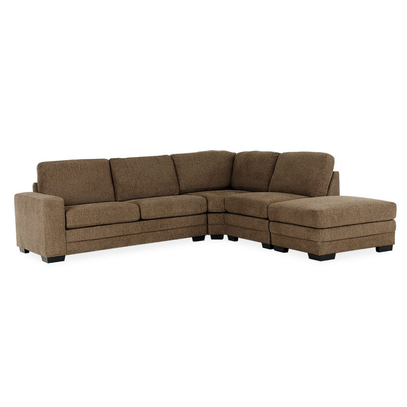 Modular Four-Seater Left Arm Facing Open End Corner Sofa with Ottoman (Fabric/Brown)