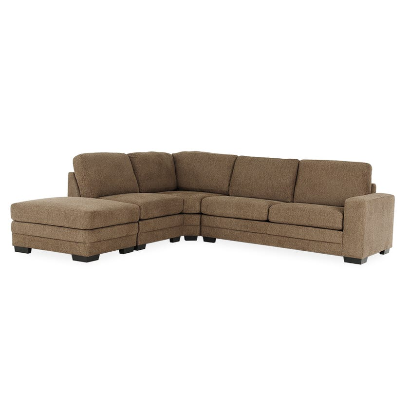 Modular Four-Seater Right Arm Facing Open End Corner Sofa with Ottoman (Fabric/Brown)