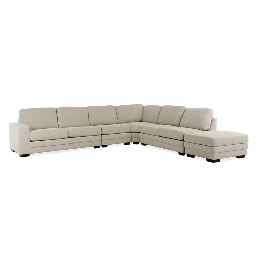 Modular Six-Seater Left Arm Facing Open End Corner Sofa with Ottoman (Fabric/Beige)