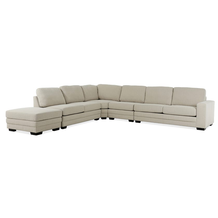 Modular Six-Seater Right Arm Facing Open End Corner Sofa with Ottoman (Fabric/Beige)
