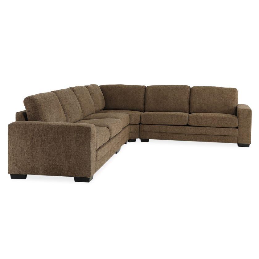 Modular Six-Seater Corner Sofa (Fabric/Brown)