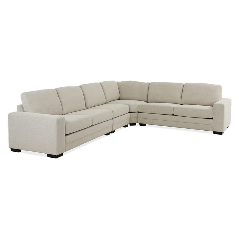 Modular Six-Seater Corner Sofa (Fabric/Beige)