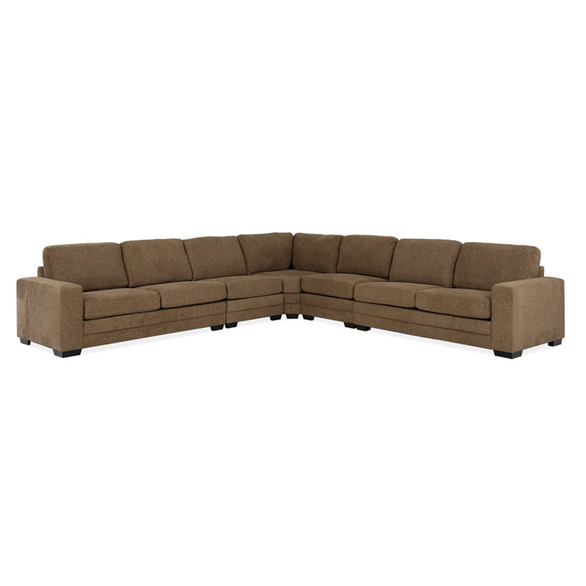 Modular Seven-Seater Corner Sofa (Fabric/Brown)