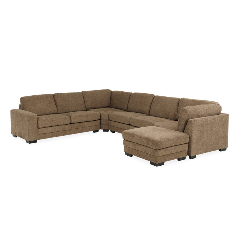 Modular Six-Seater Left Arm Facing Open End Corner Sofa with Ottoman (Fabric/Brown)