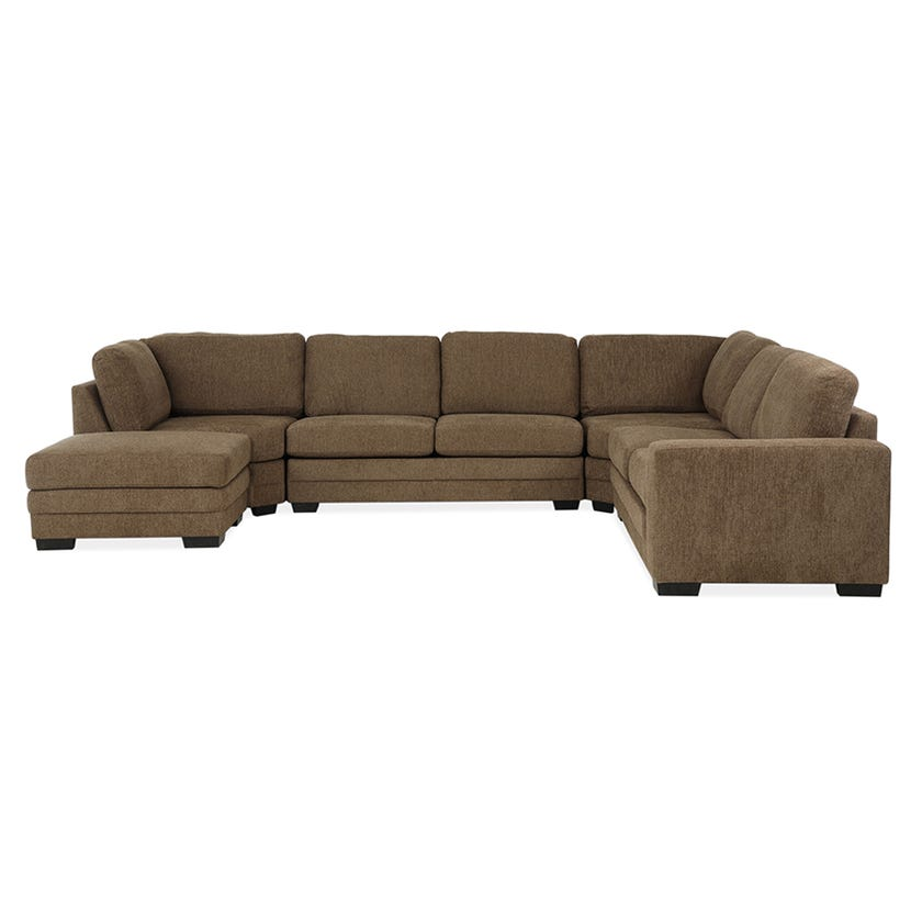 Modular Six-Seater Right Arm Facing Open End Corner Sofa with Ottoman (Fabric/Brown)