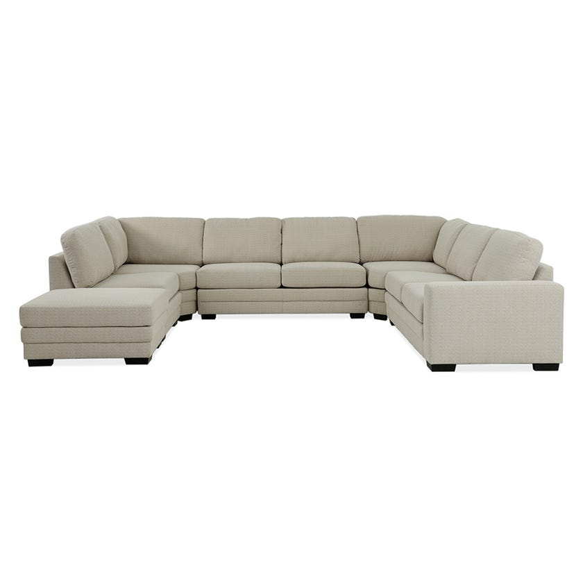 Modular Seven-Seater Right Arm Facing Open End U-shaped Corner Sofa with Ottoman (Fabric/Beige)