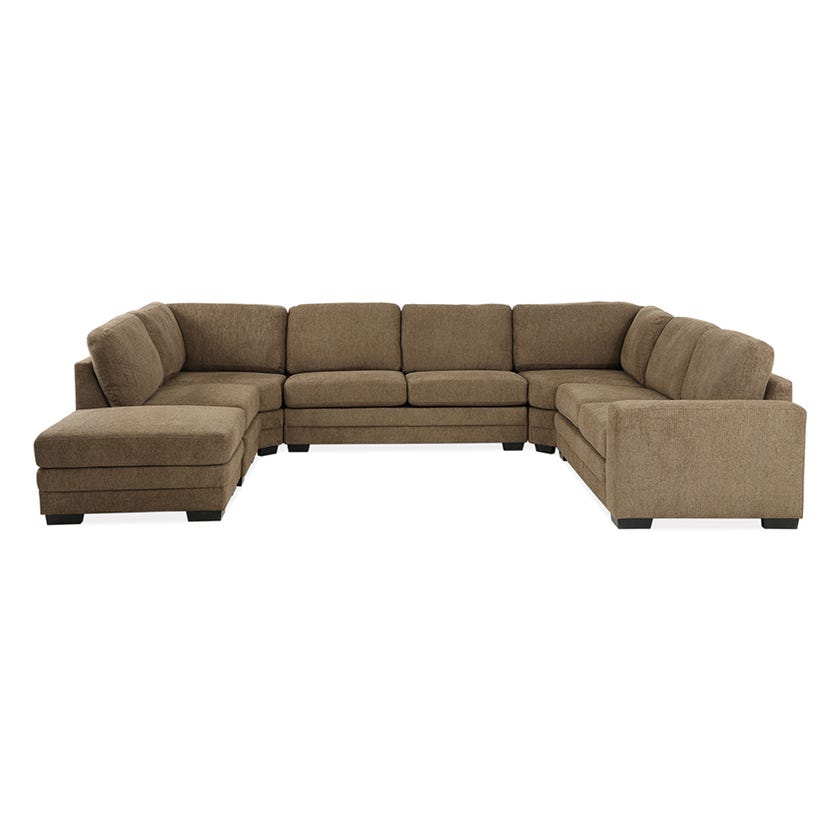 Modular Seven-Seater Right Arm Facing Open End U-shaped Corner Sofa with Ottoman (Fabric/Brown)