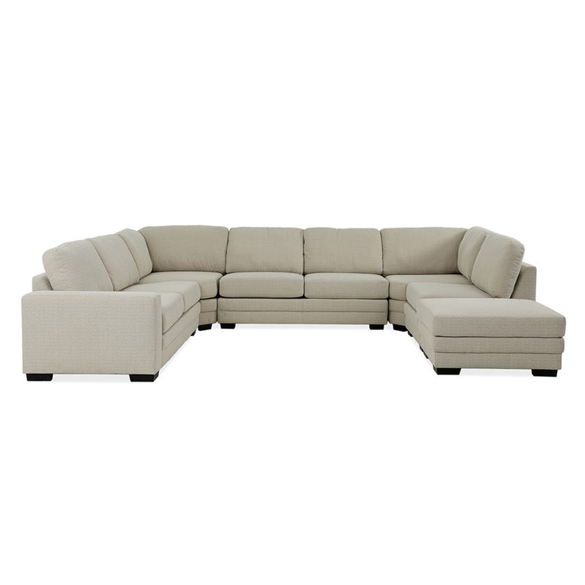 Modular Seven-Seater Left Arm Facing Open End U-shaped Corner Sofa with Ottoman (Fabric/Beige)