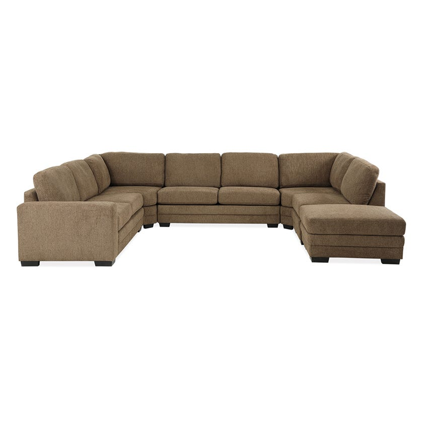 Modular Seven-Seater Left Arm Facing Open End U-shaped Corner Sofa with Ottoman (Fabric/Brown)
