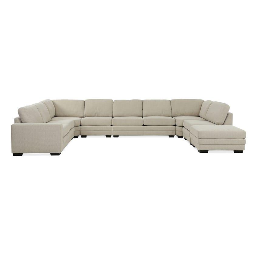 Modular Eight-Seater Left Arm Facing Open End U-shaped Corner Sofa with Ottoman (Fabric/Beige)