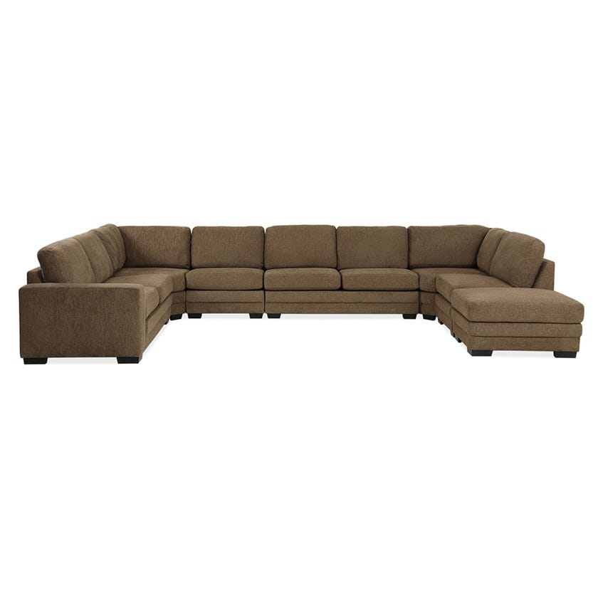 Modular Eight-Seater Left Arm Facing Open End U-shaped Corner Sofa with Ottoman (Fabric/Brown)