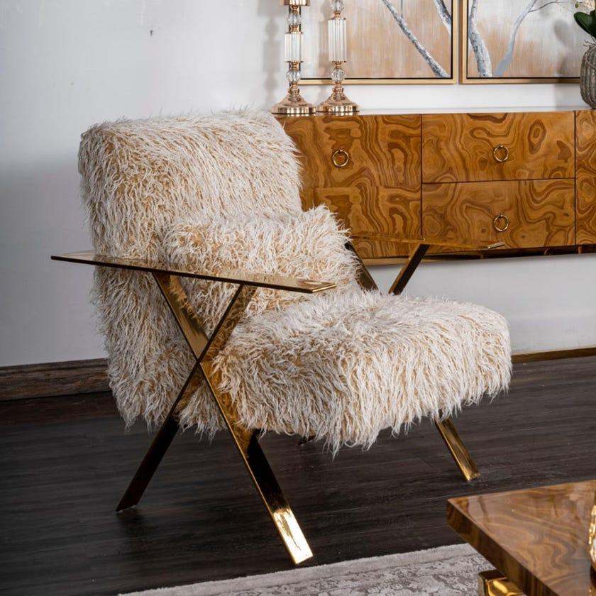 Clara Fabric Upholstered Faux Fur Armchair, Cream