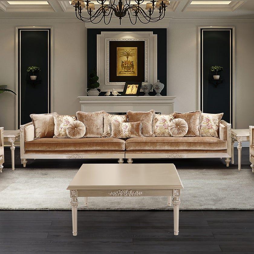 Ramazan 6-Seater Fabric Upholstered Sofa, Gold