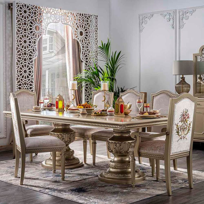 Safiya Ten-Seater Dining Table- Champagne