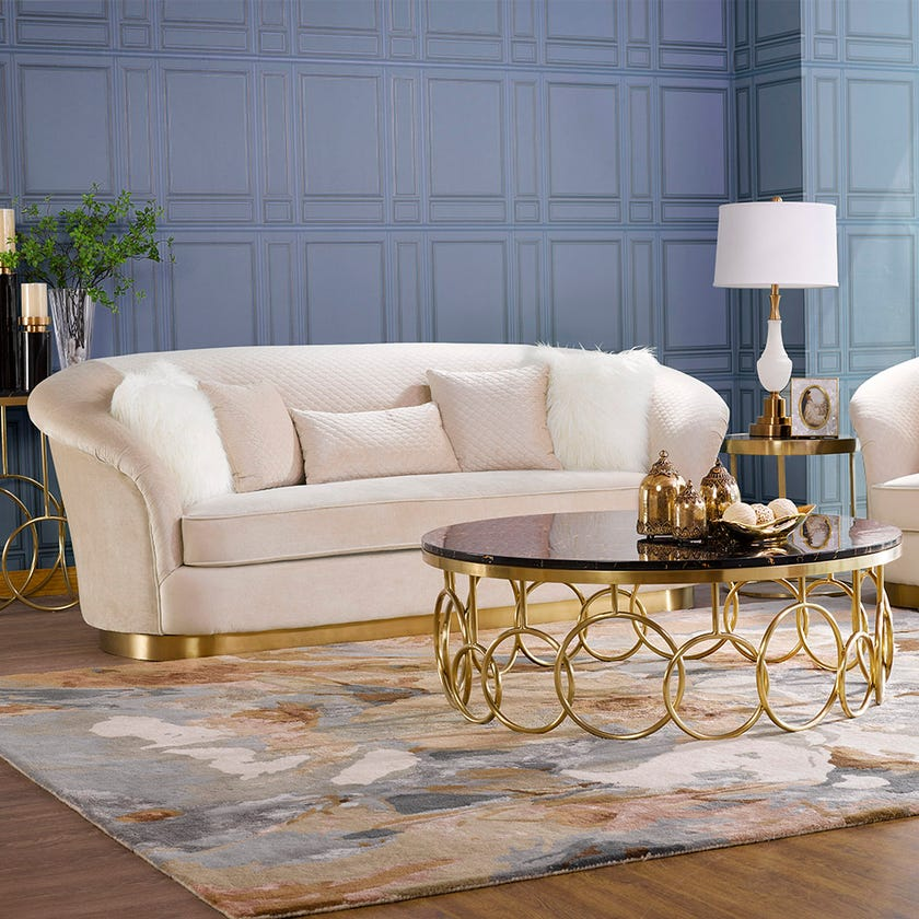 Yannica Fabric Upholstered 4-seater Sofa - Beige